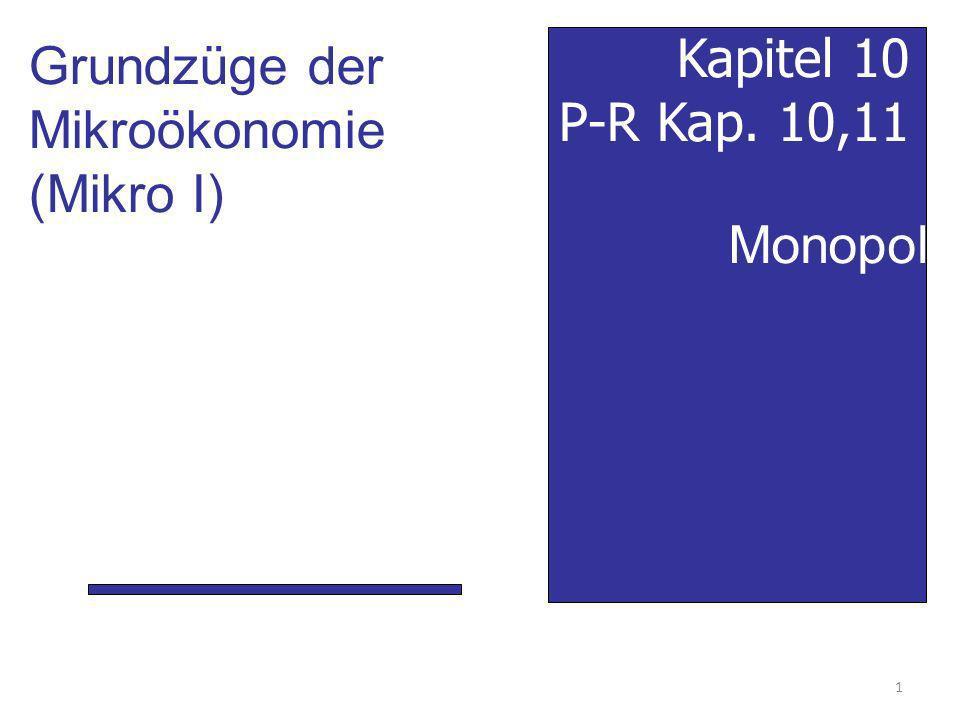 Grundzüge der Mikroökonomie (Mikro I) Kapitel 10 P-R Kap. 10,11