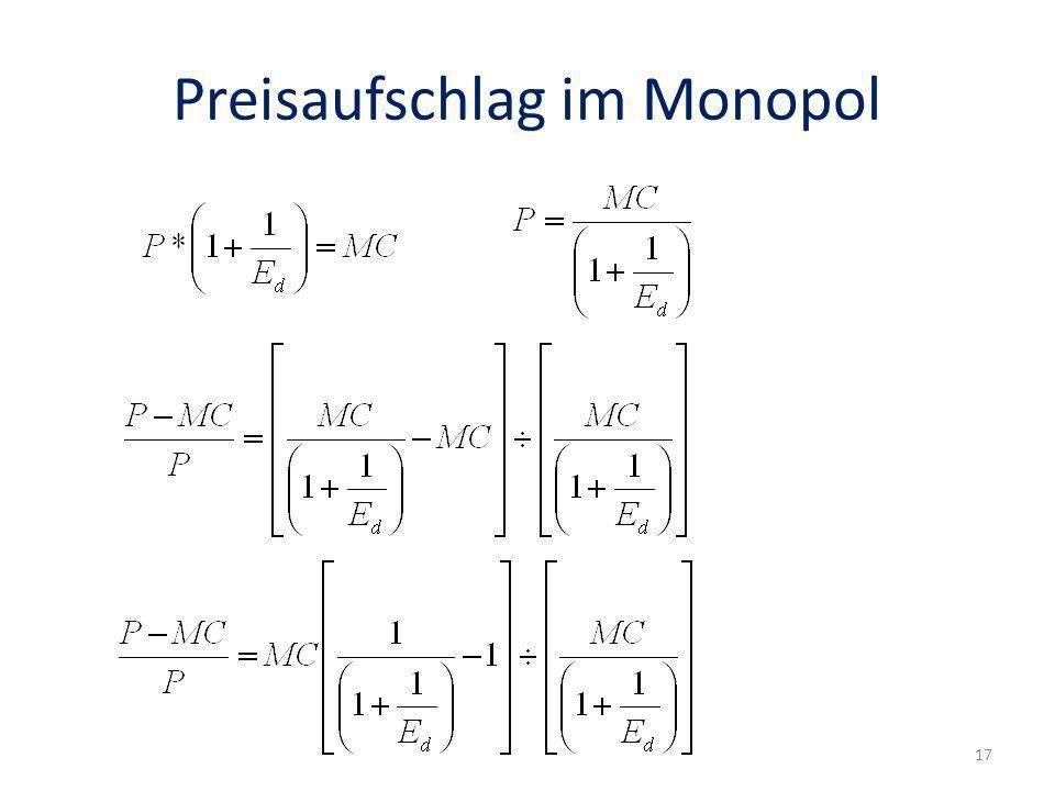Preisaufschlag im Monopol