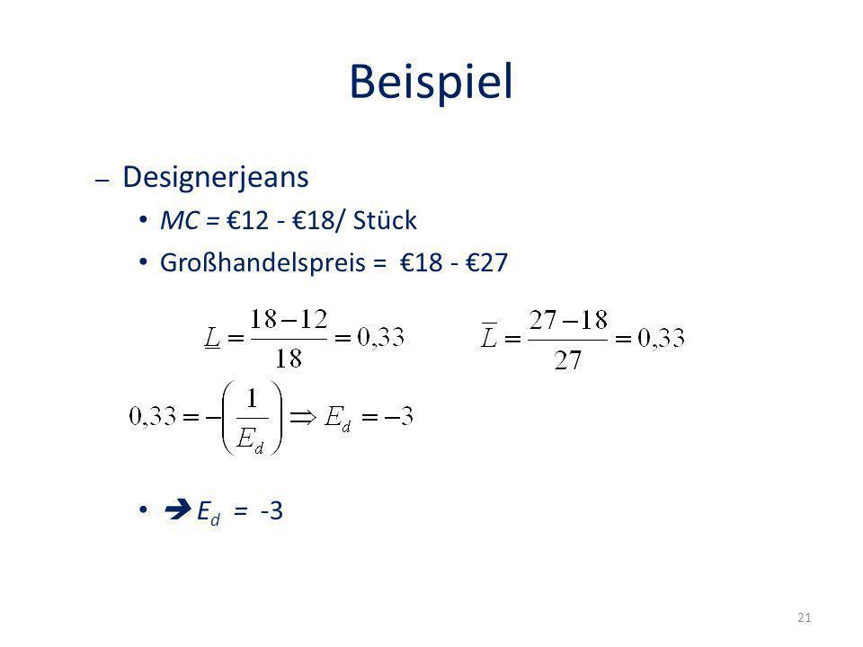 Beispiel Designerjeans MC = €12 - €18/ Stück