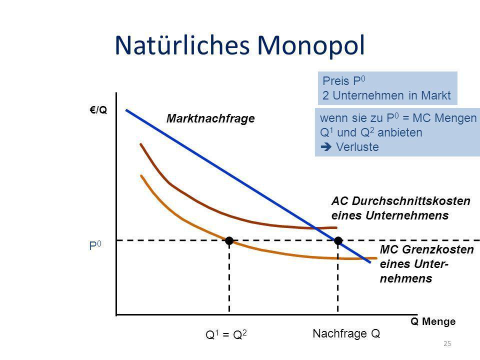 Natürliches Monopol Preis P0 2 Unternehmen in Markt Marktnachfrage