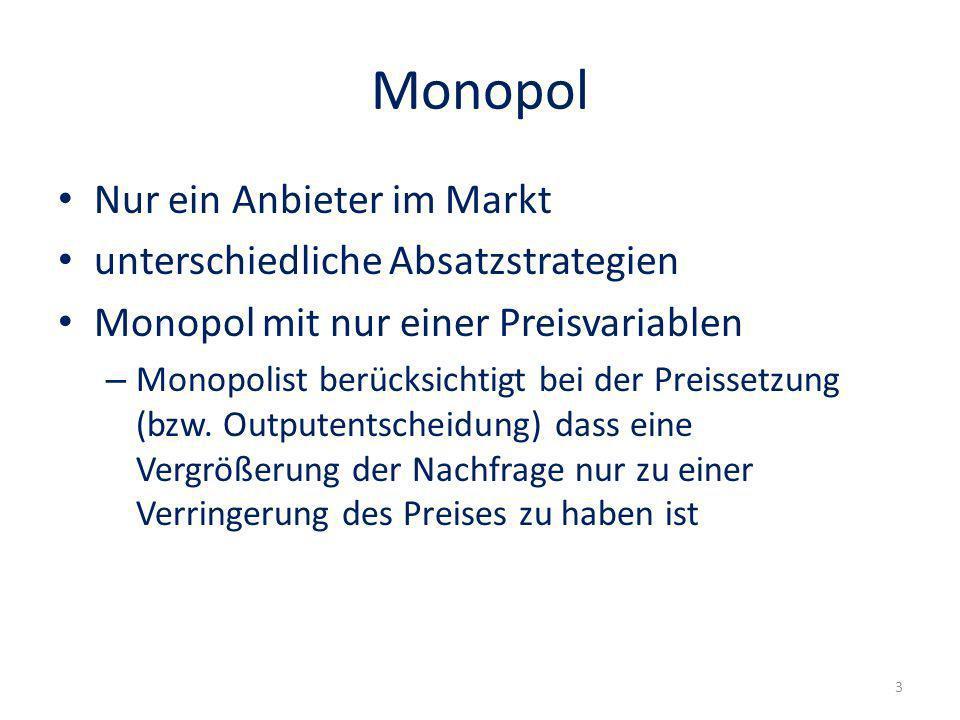 Monopol Nur ein Anbieter im Markt unterschiedliche Absatzstrategien