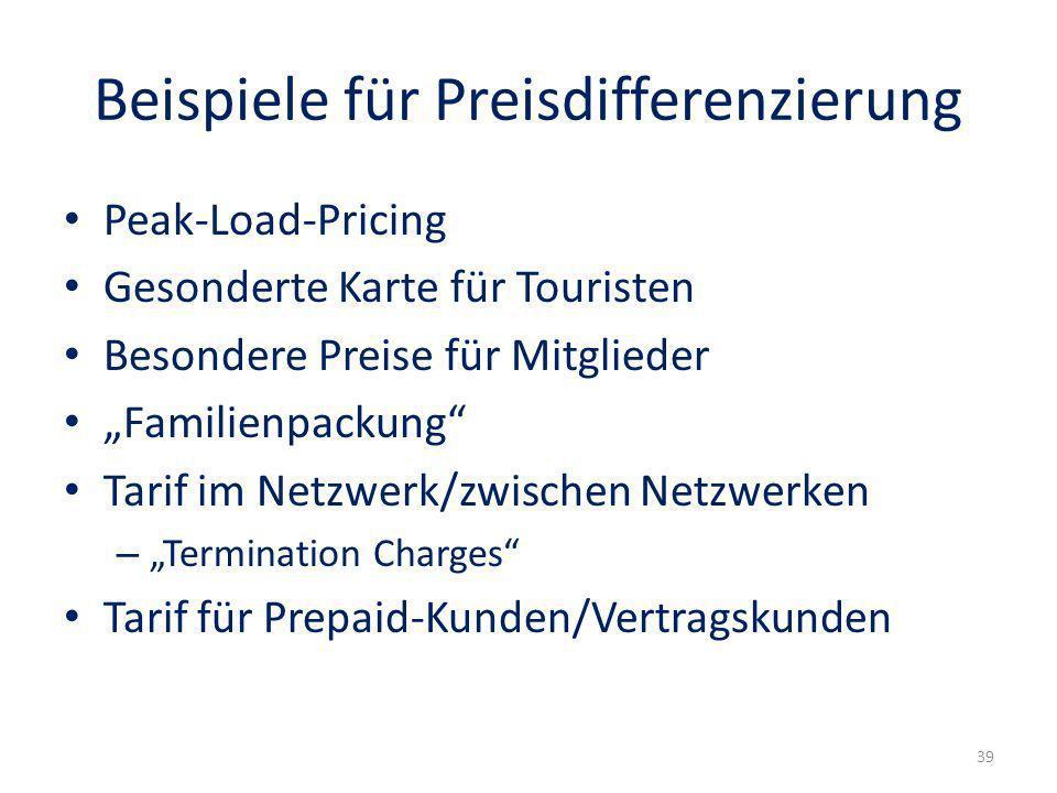 Beispiele für Preisdifferenzierung
