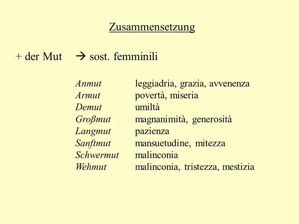 + der Mut  sost. femminili