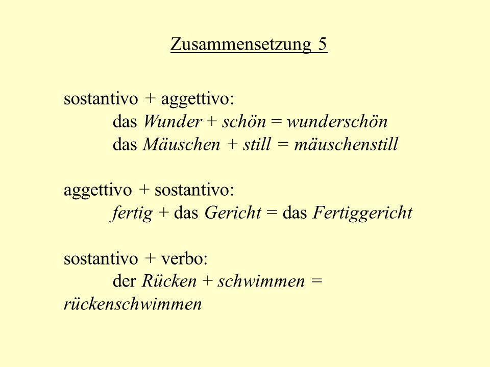 Zusammensetzung 5 sostantivo + aggettivo: das Wunder + schön = wunderschön. das Mäuschen + still = mäuschenstill.