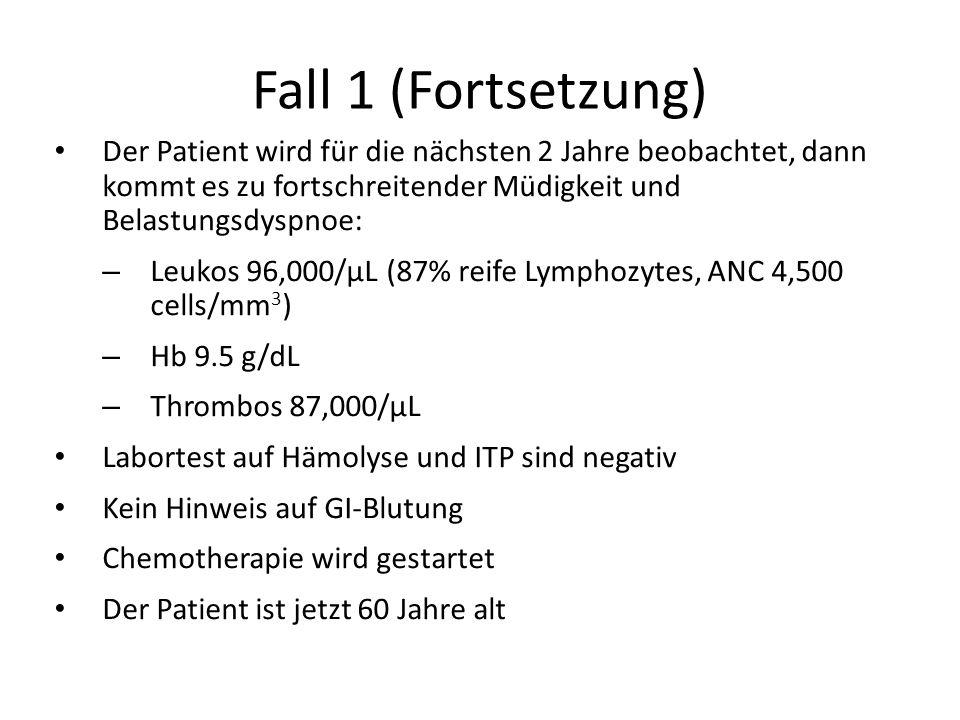 Fall 1 (Fortsetzung) Der Patient wird für die nächsten 2 Jahre beobachtet, dann kommt es zu fortschreitender Müdigkeit und Belastungsdyspnoe:
