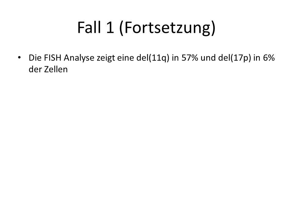 Fall 1 (Fortsetzung) Die FISH Analyse zeigt eine del(11q) in 57% und del(17p) in 6% der Zellen. Richtige Antwort 5.