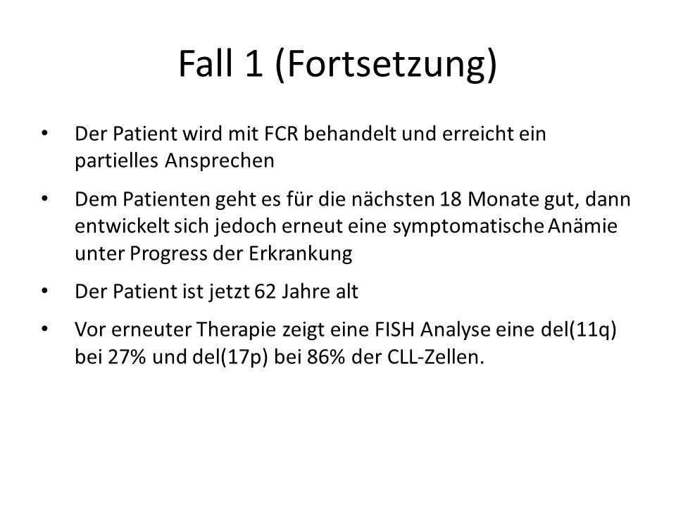 Fall 1 (Fortsetzung) Der Patient wird mit FCR behandelt und erreicht ein partielles Ansprechen.