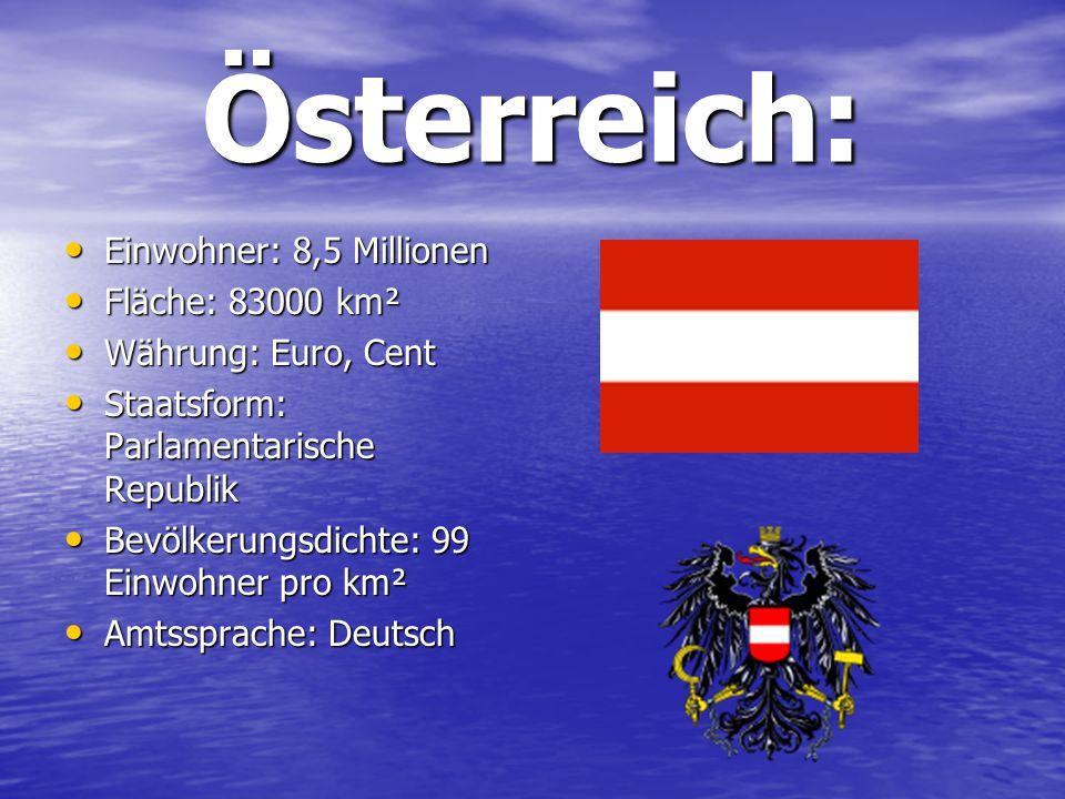 Österreich: Einwohner: 8,5 Millionen Fläche: 83000 km²