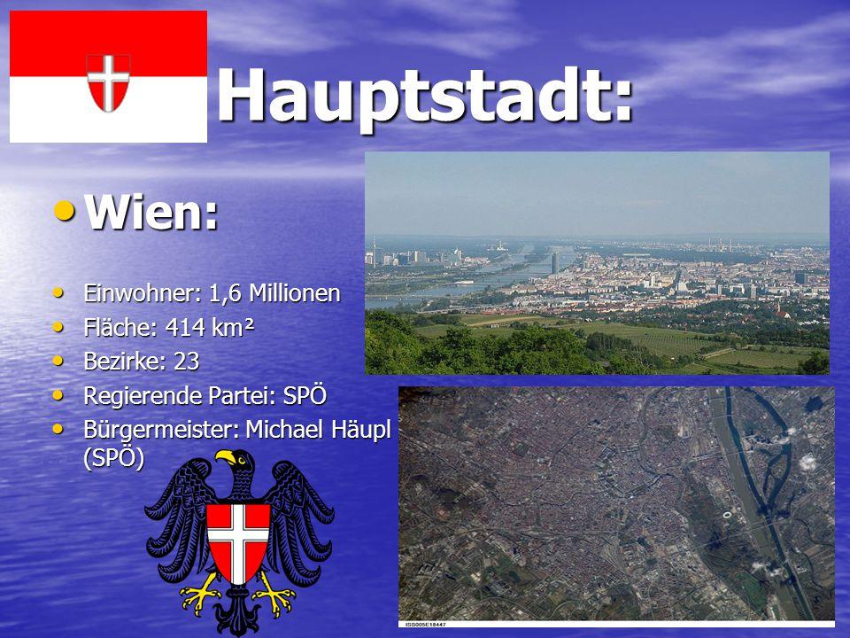 Hauptstadt: Wien: Einwohner: 1,6 Millionen Fläche: 414 km² Bezirke: 23