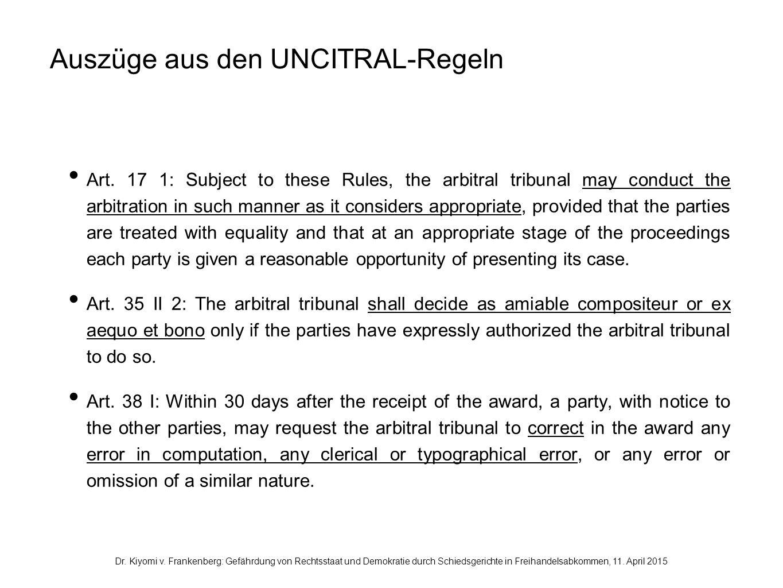 Auszüge aus den UNCITRAL-Regeln