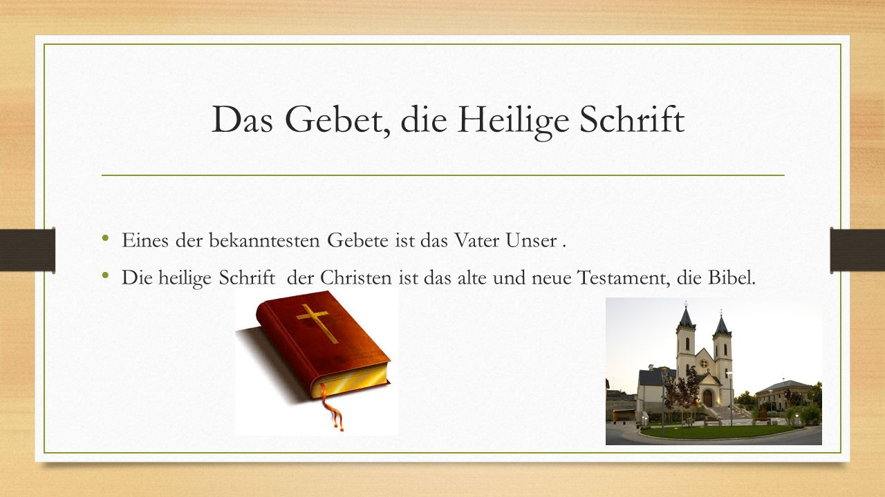 Das Gebet, die Heilige Schrift