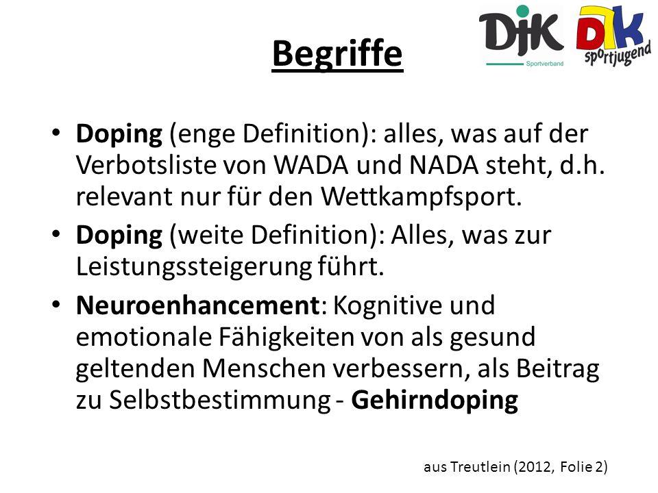 Begriffe Doping (enge Definition): alles, was auf der Verbotsliste von WADA und NADA steht, d.h. relevant nur für den Wettkampfsport.
