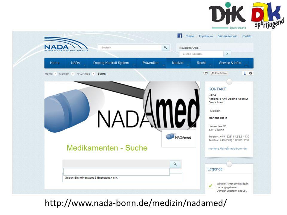 Auf der kostenlosen Seite der NADA können die Medikamente gesucht werden. Die Seite gibt daraufhin Auskunft darüber, ob ein positives Doping-ergebnis zu erwarten wäre. Sind die Mittel ärztlich verordnet und ist eine Teilnahme an einer Bundesveranstaltung geplant, ist ggf. eine Ausnahmegenehmigung (TUE) zu beantragen. Die Ärzte sollten bei der Verschreibung von Medikamenten darauf hingewiesen werden, dass man aktiv Sport betreibt.