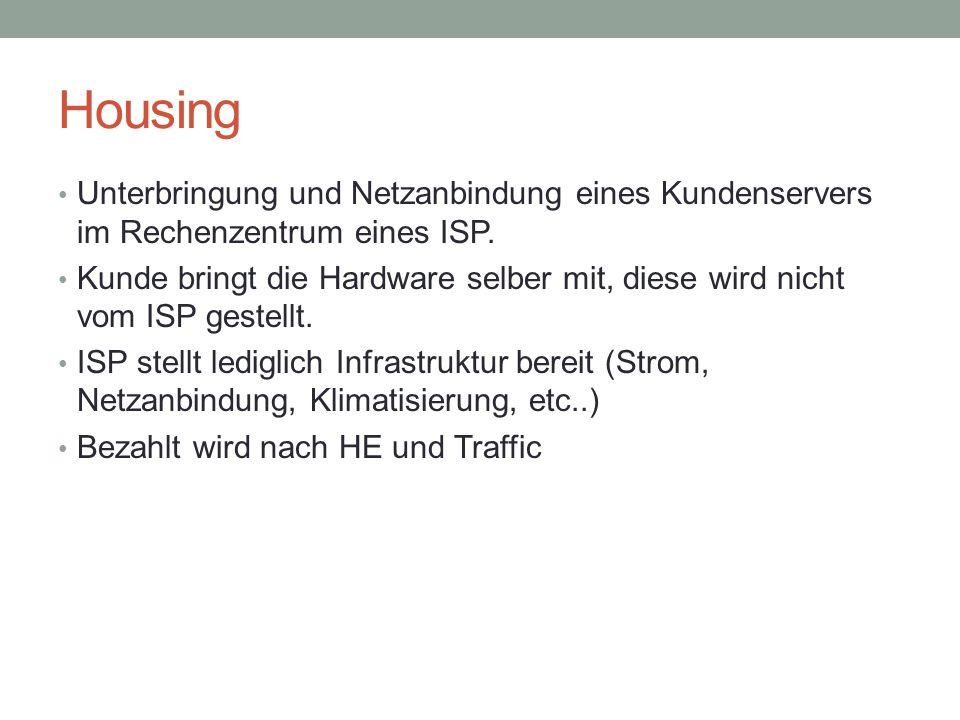 Housing Unterbringung und Netzanbindung eines Kundenservers im Rechenzentrum eines ISP.