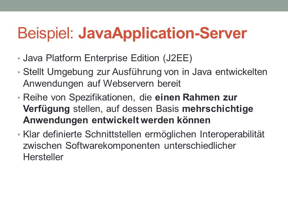 Beispiel: JavaApplication-Server