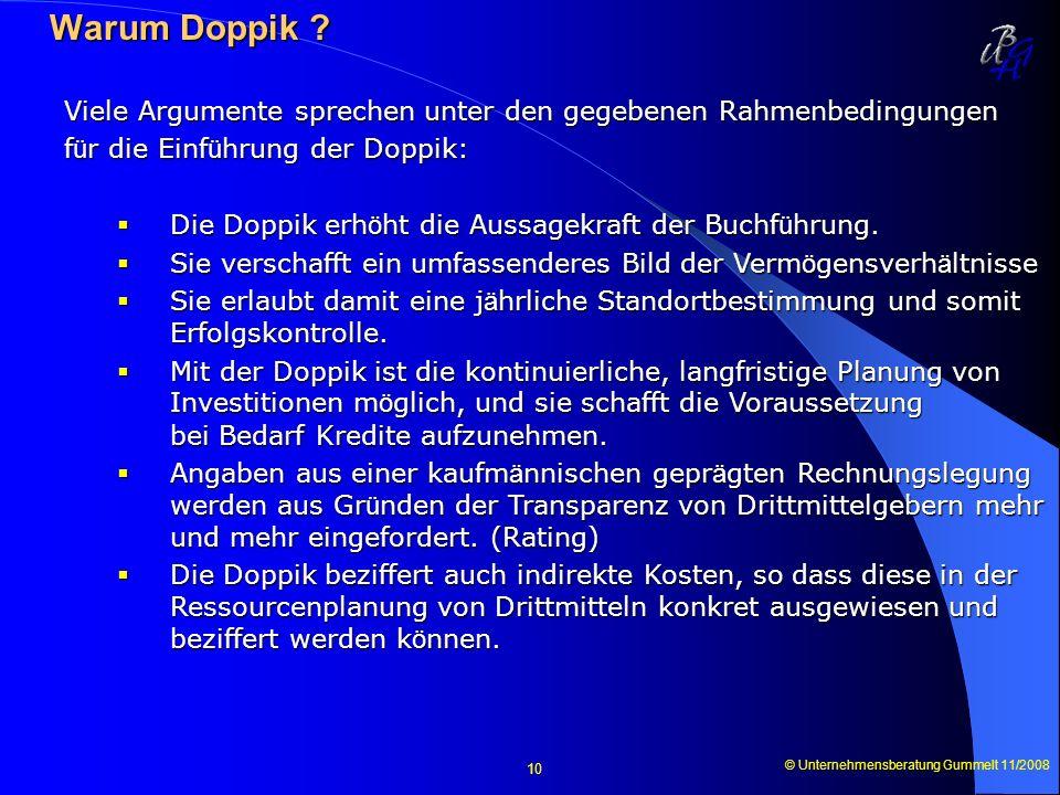 Warum Doppik Viele Argumente sprechen unter den gegebenen Rahmenbedingungen. für die Einführung der Doppik: