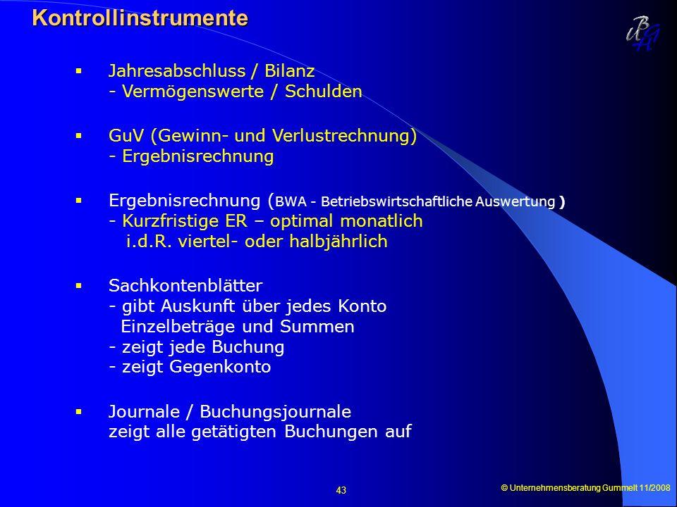 Kontrollinstrumente Jahresabschluss / Bilanz - Vermögenswerte / Schulden. GuV (Gewinn- und Verlustrechnung) - Ergebnisrechnung.
