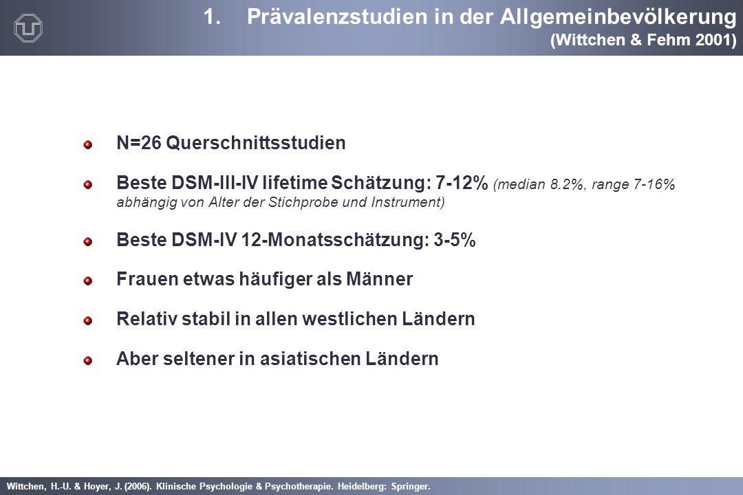 Prävalenzstudien in der Allgemeinbevölkerung (Wittchen & Fehm 2001)