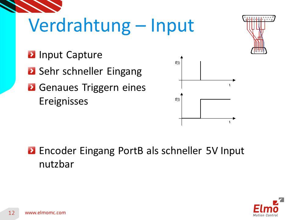 Verdrahtung – Input Input Capture Sehr schneller Eingang