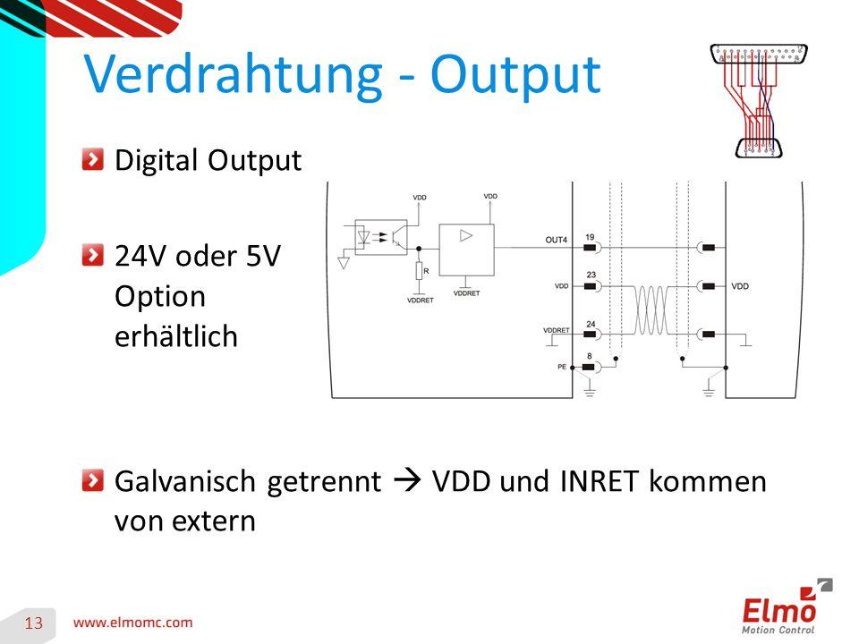 Verdrahtung - Output Digital Output 24V oder 5V Option erhältlich