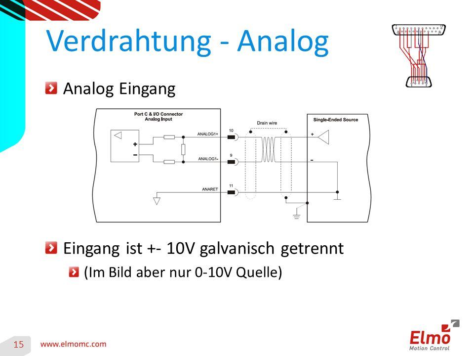 Verdrahtung - Analog Analog Eingang