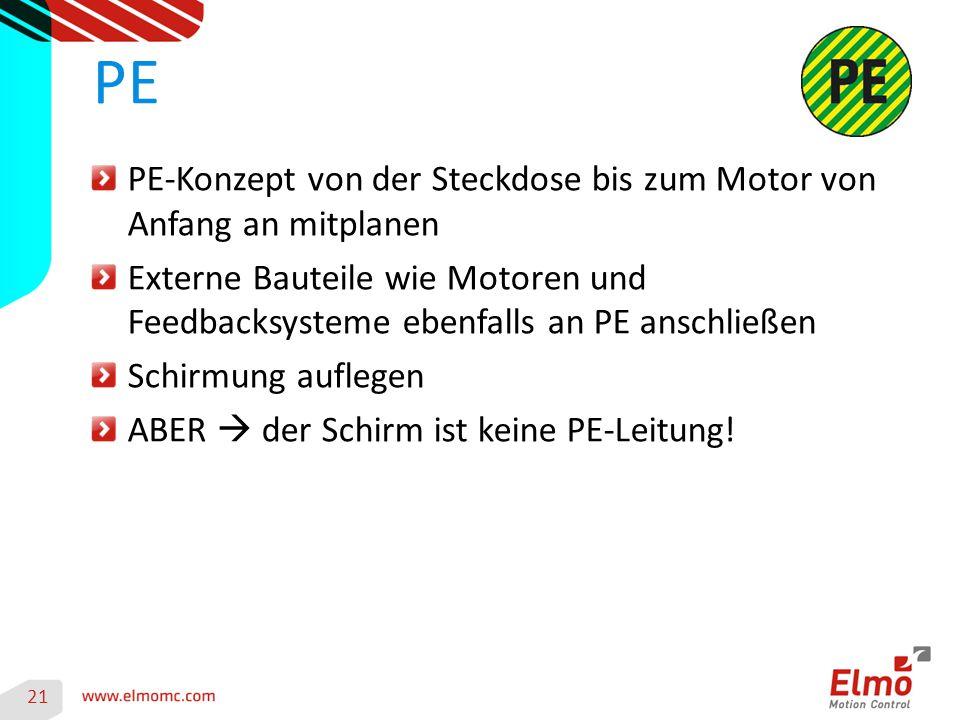 PE PE-Konzept von der Steckdose bis zum Motor von Anfang an mitplanen