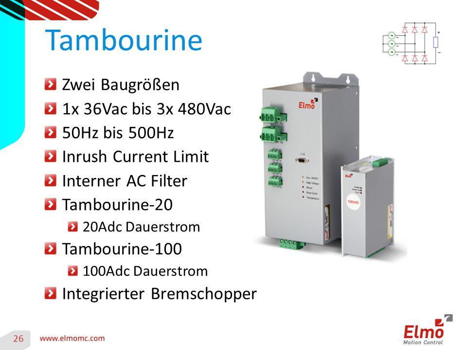 Tambourine Zwei Baugrößen 1x 36Vac bis 3x 480Vac 50Hz bis 500Hz