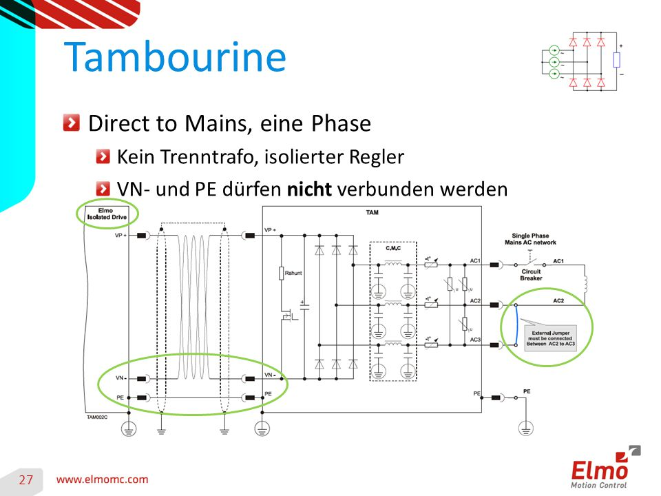 Tambourine Direct to Mains, eine Phase