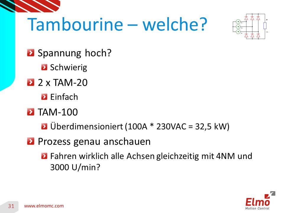 Tambourine – welche Spannung hoch 2 x TAM-20 TAM-100