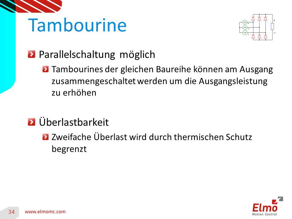 Tambourine Parallelschaltung möglich Überlastbarkeit