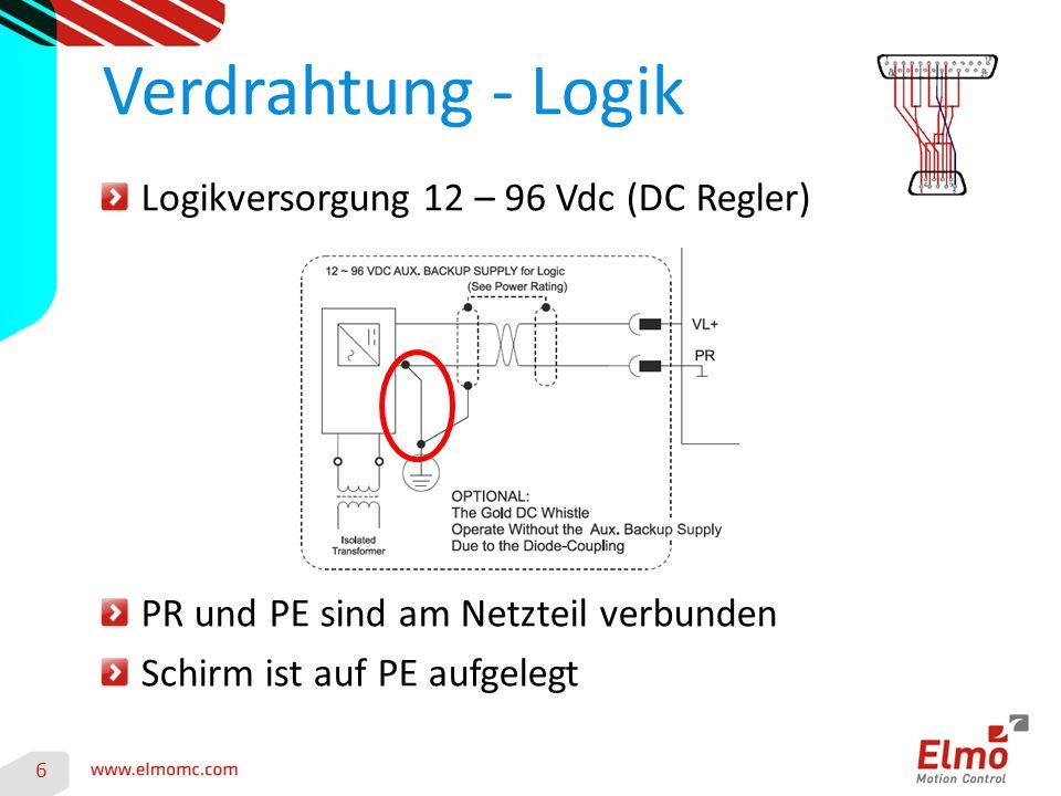 Verdrahtung - Logik Logikversorgung 12 – 96 Vdc (DC Regler)