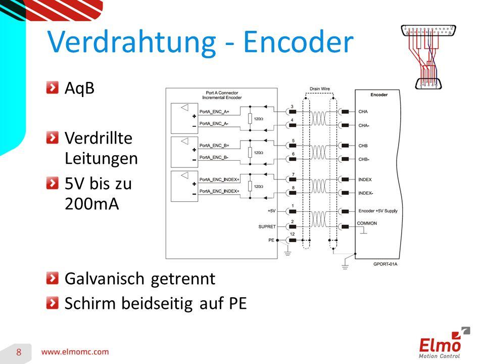 Verdrahtung - Encoder AqB Verdrillte Leitungen 5V bis zu 200mA