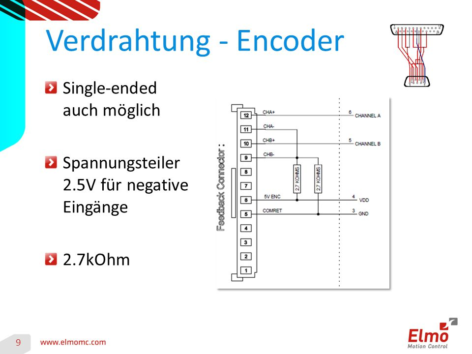 Verdrahtung - Encoder Single-ended auch möglich