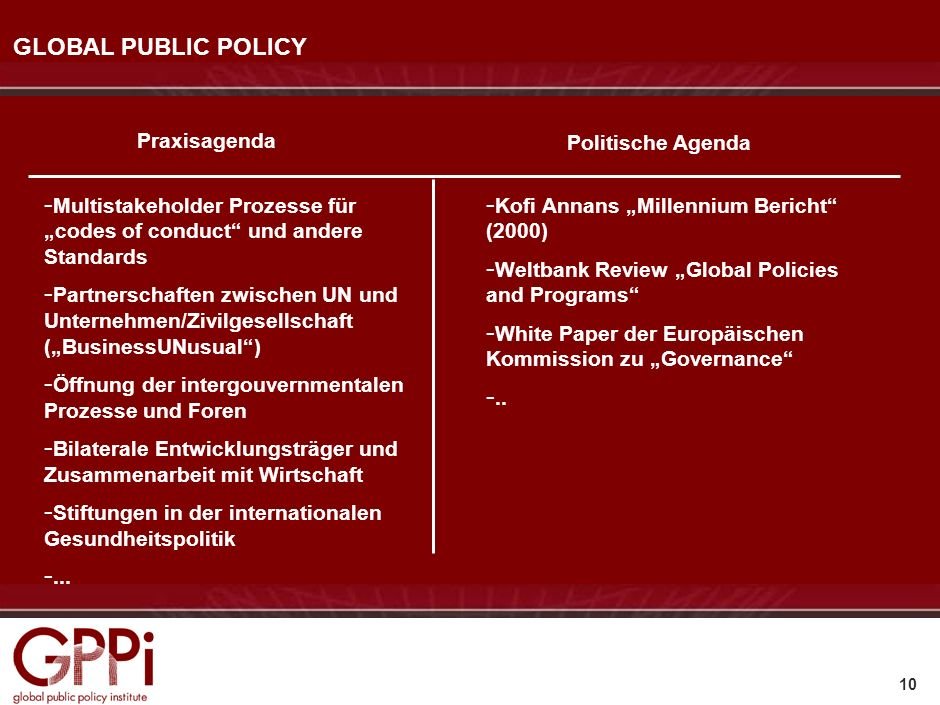 GLOBAL PUBLIC POLICY Praxisagenda Politische Agenda
