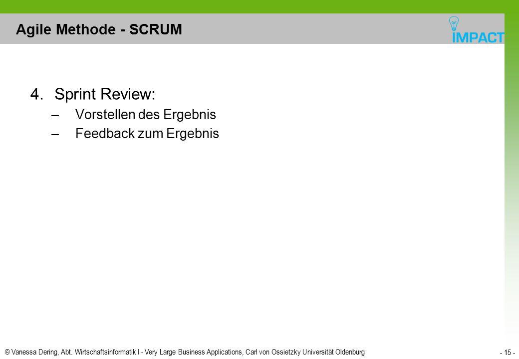 Sprint Review: Agile Methode - SCRUM Vorstellen des Ergebnis