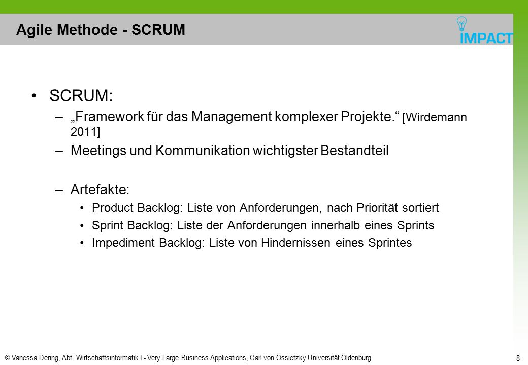SCRUM: Agile Methode - SCRUM