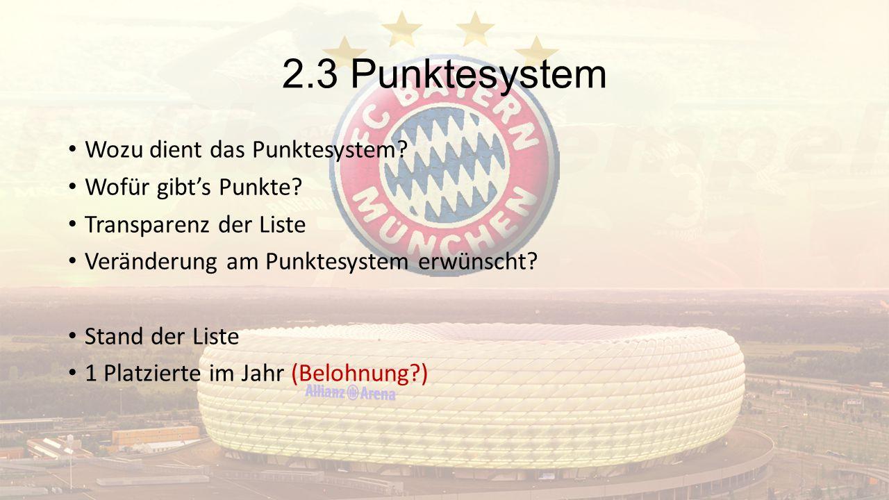 2.3 Punktesystem Wozu dient das Punktesystem Wofür gibt's Punkte