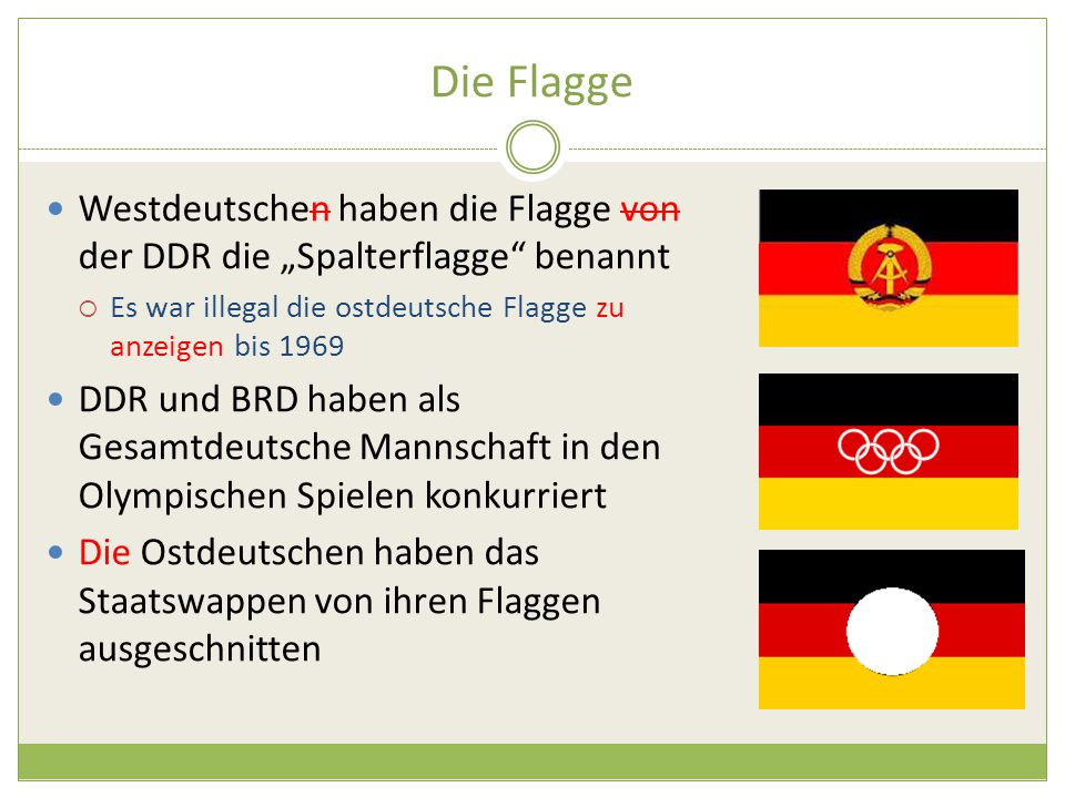 """Die Flagge Westdeutschen haben die Flagge von der DDR die """"Spalterflagge benannt. Es war illegal die ostdeutsche Flagge zu anzeigen bis 1969."""