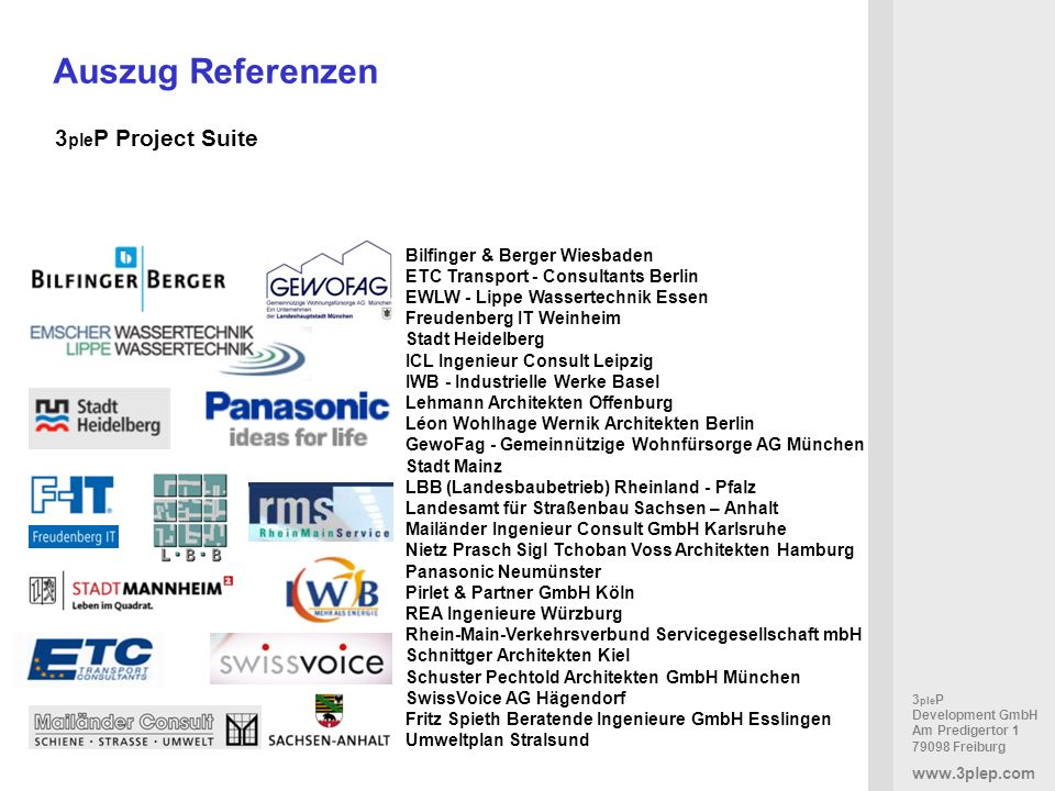 Auszug Referenzen 3pleP Project Suite Bilfinger & Berger Wiesbaden