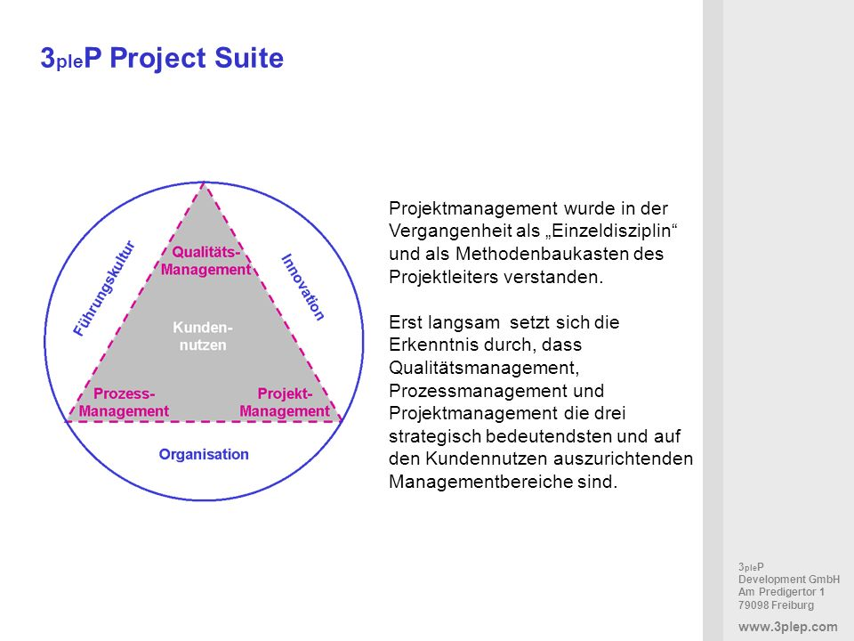 """3pleP Project SuiteProjektmanagement wurde in der Vergangenheit als """"Einzeldisziplin und als Methodenbaukasten des Projektleiters verstanden."""