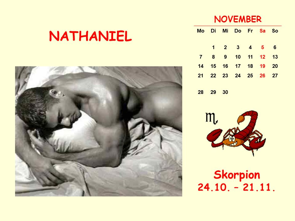 NATHANIEL Skorpion 24.10. – 21.11. NOVEMBER Mo Di Mi Do Fr Sa So 1 2 3