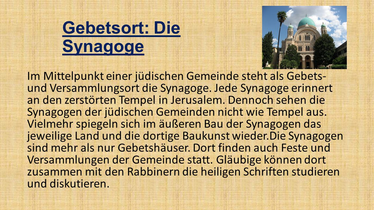 Gebetsort: Die Synagoge