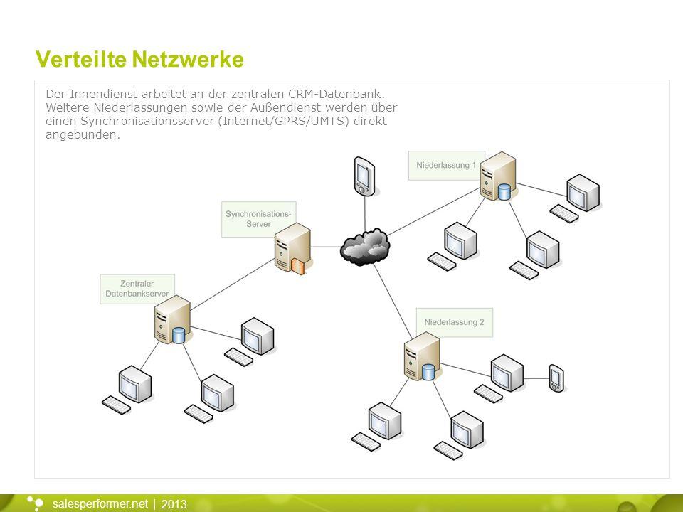 Verteilte Netzwerke Der Innendienst arbeitet an der zentralen CRM-Datenbank.