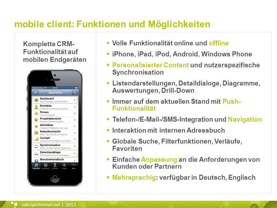 mobile client: Funktionen und Möglichkeiten