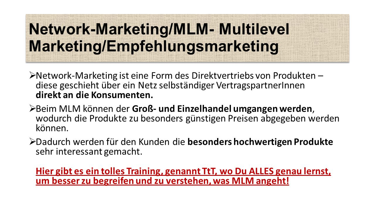 Network-Marketing/MLM- Multilevel Marketing/Empfehlungsmarketing