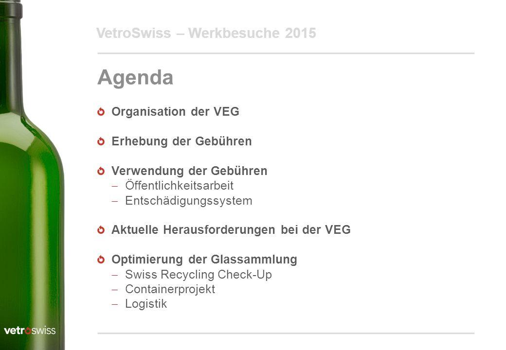 Agenda VetroSwiss – Werkbesuche 2015 Organisation der VEG