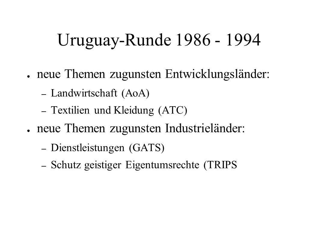 Uruguay-Runde 1986 - 1994 neue Themen zugunsten Entwicklungsländer: