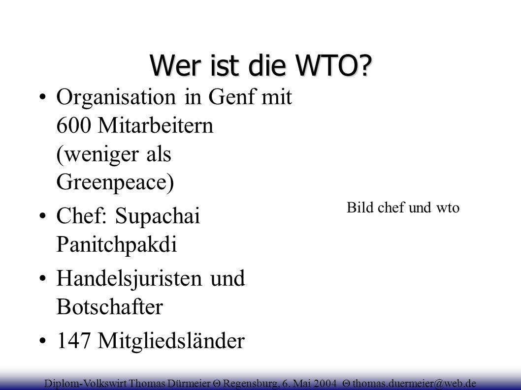 Wer ist die WTO Organisation in Genf mit 600 Mitarbeitern (weniger als Greenpeace) Chef: Supachai Panitchpakdi.