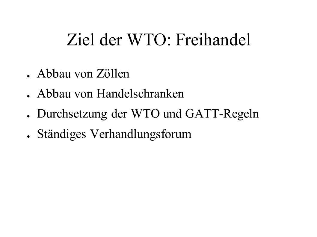 Ziel der WTO: Freihandel