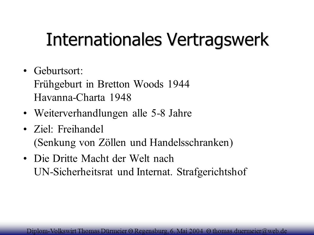 Internationales Vertragswerk